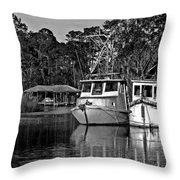 Resting Shrimp Boats Throw Pillow