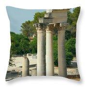 Restored Roman Columns In Glanum Throw Pillow