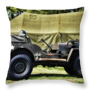 Restored Willys Jeep And Tent At Fort Miles Throw Pillow