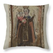 Retablo (our Lady Of Carmel) Throw Pillow