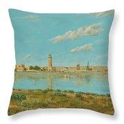 Rethymno Harbour - Crete Throw Pillow