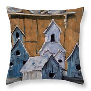 Retired Bird Houses By Prankearts Fine Arts Throw Pillow