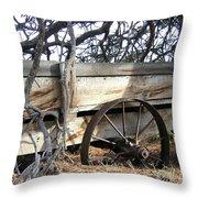 Retired Farm Wagon Throw Pillow
