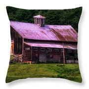 Retired Vermont Farm Throw Pillow