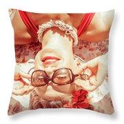 Retro 50s Beach Pinup Girl Throw Pillow