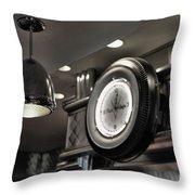 Retro 50's Clock Restaurant  Throw Pillow