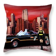 Retro Bat Woman Throw Pillow