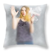Retro Bathroom Cleaning Duties Throw Pillow