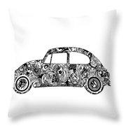 Retro Beetle Car 2 Throw Pillow