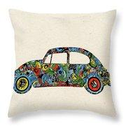 Retro Beetle Car 3 Throw Pillow