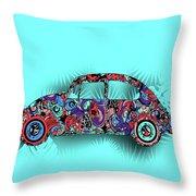 Retro Beetle Car 5 Throw Pillow