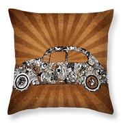 Retro Beetle Car Throw Pillow