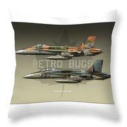 Retro Bugs Throw Pillow