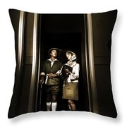 Retro Couple On Safari Throw Pillow