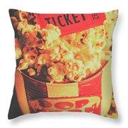 Retro Film Stub And Movie Popcorn Throw Pillow