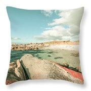 Retro Filtered Beach Background Throw Pillow