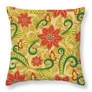 Retro Floral Seamless Pattern Throw Pillow