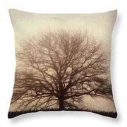 Retro Foggy Tree Throw Pillow