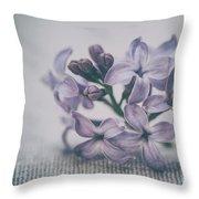 Retro Lilac Flower Throw Pillow