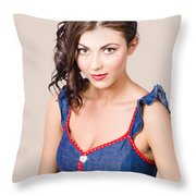 Retro Pin-up Girl In Blue Denim Dress Throw Pillow