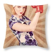 Retro Pinup Boxing Girl Fist Pumping Glove Hand  Throw Pillow