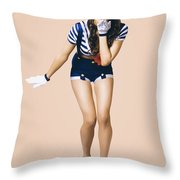 Retro Pinup Girl Blowing Travelling Departure Kiss Throw Pillow