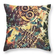 Retro Pop Art Owls Under Floating Feathers Throw Pillow