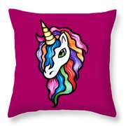 Retro Rainbow Unicorn Throw Pillow