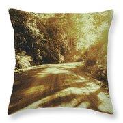 Retro Rainforest Road Throw Pillow