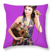 Retro Receptionist On Vintage Telephone. Call Us Throw Pillow