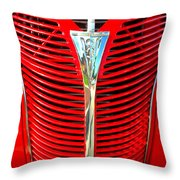 Retro Red Grille Throw Pillow
