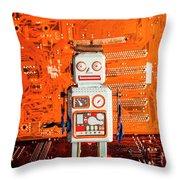 Retro Robotic Nostalgia Throw Pillow