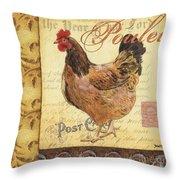 Retro Rooster 1 Throw Pillow by Debbie DeWitt
