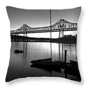 Retro San Francisco Oakland Bay Bridge Throw Pillow