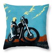 Retro Scrambler Motorbike Throw Pillow