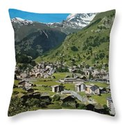 Retro Swiss Travel Zermatt And Mount Matterhorn  Throw Pillow