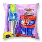 Retro Toys Throw Pillow