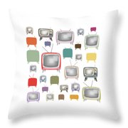 Retro T.v. Throw Pillow