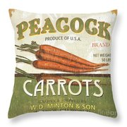 Retro Veggie Label 2 Throw Pillow by Debbie DeWitt