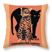 Retro Vintage Munich Zoo Big Cats Throw Pillow