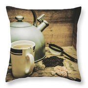 Retro Vintage Toned Tea Still Life In Crate Throw Pillow