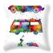Retro Wheels Watercolor Throw Pillow