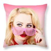 Retro Woman Model Wearing Summer Sun Glasses Throw Pillow