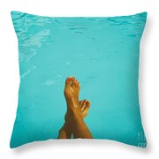 Retro Young Girl Relaxing Her Feet At Swimming Pool Throw Pillow