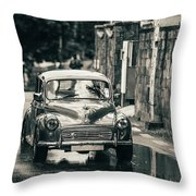 Retromobile. Morris Minor. Vintage Monochrome Throw Pillow