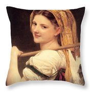 Return From The Market Throw Pillow