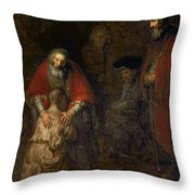 Return Of The Prodigal Son Throw Pillow by Rembrandt Harmenszoon van Rijn