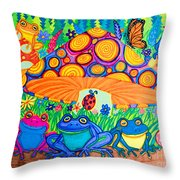 Return To Happy Frog Meadow Throw Pillow
