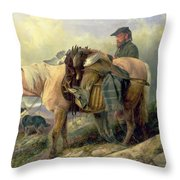 Returning From The Hill Throw Pillow by Richard Ansdell