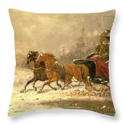 Returning Home In Winter Throw Pillow by Charles Ferdinand De La Roche